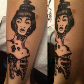 zombie lady tattooed by Kyle
