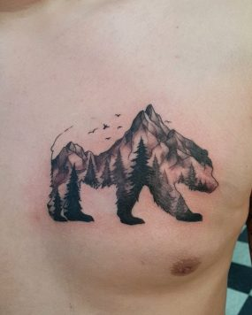 Bear Mountain Tattoo done by Kyle at Laughing Buddha Tattoo & Body Piercing Seattle, WA. Capitol Hill