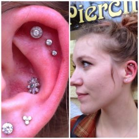 Helix Piercings done at Laughing Buddha Tattoo & Body Piercing Seattle, WA Capitol Hill