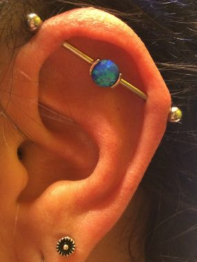 Industrial Piercing done at Laughing Buddha Tattoo & Body Piercing Seattle, WA Capitol Hill