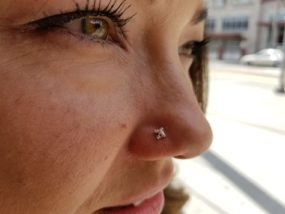 Nostril Piercing done at Laughing Buddha Tattoo & Body Piercing Seattle, WA Capitol Hill