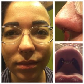 Septum Piercing done at Laughing Buddha Tattoo & Body Piercing Seattle, WA Capitol Hill