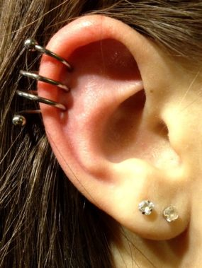 Helix Spiral Piercing done at Laughing Buddha Tattoo & Body Piercing Seattle, WA Capitol Hill
