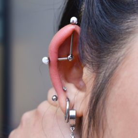 Custom Industrial Piercing done at Laughing Buddha Tattoo & Body Piercing Seattle, WA. Capitol Hill