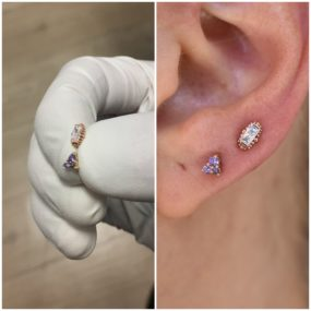Ear Lobe Piercings with 14k Gold done at Laughing Buddha Tattoo & Body Piercing Seattle, WA. Capitol Hill