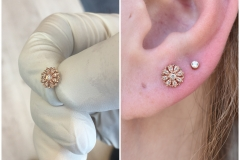 Ear Lobe Piercing with 14k Gold from BVLA done at Laughing Buddha Tattoo & Body Piercing Seattle, WA. Capitol Hill