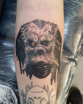 Predator Tattoo done by Kyle at Laughing Buddha Tattoo & Body Piercing Seattle, WA. Capitol Hill