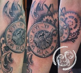 Clock Tattoo done by Shain at Laughing Buddha Tattoo & Body Piercing Seattle, WA. Capitol Hill