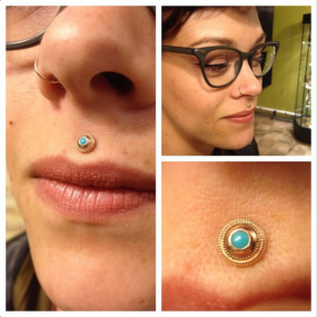 Philtrum piercing by Colin O at Laughing Buddha Seattle, WA Capitol Hill