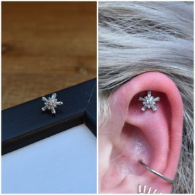 Helix with 14k Gold from BVLA piercing by Colin O at Laughing Buddha Seattle, WA Capitol Hill