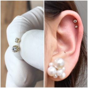 Helix Piercings with 18k Gold from Anatometal piercing by Colin O at Laughing Buddha Seattle, WA Capitol Hill