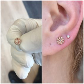 Ear Lobe Piercing with 14k Gold from BVLA piercing by Colin O at Laughing Buddha Seattle, WA Capitol Hill