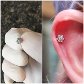 Helix Piercing with 14k Gold from BVLA piercing by Colin O at Laughing Buddha Seattle, WA Capitol Hill
