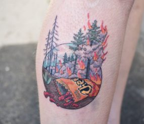 Cheetos fire Tattoo done by Kyle at Laughing Buddha Tattoo & Body Piercing Seattle, WA. Capitol Hill