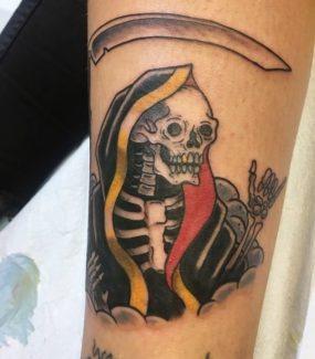 Grim Reaper Tattoo done by Kyle at Laughing Buddha Tattoo & Body Piercing Seattle, WA. Capitol Hill