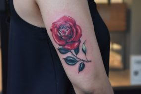 Rose Tattoo done by Kyle at Laughing Buddha Tattoo & Body Piercing Seattle, WA. Capitol Hill